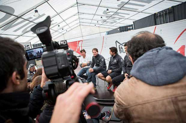 Charles Caudrelier and the team talk to media in Lisbon about the completion of the boat refit, the training schedule and crew selection - Volvo Ocean Race © Eloi Stichelbaut / Dongfeng Race Team