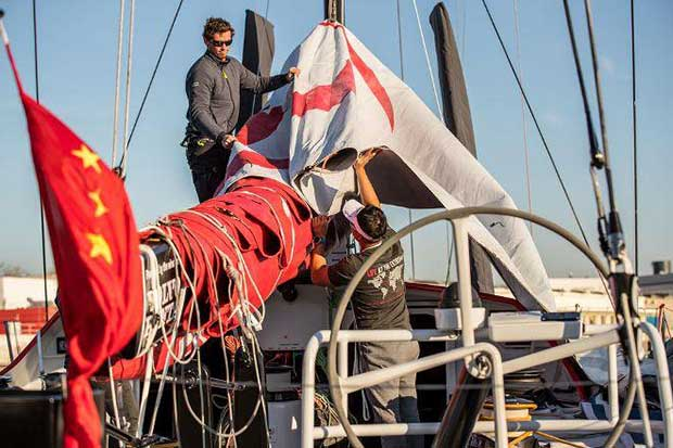 Pre-Race, Lisbon - Sea Trials – Dongfeng Race Team and The Boatyard prepare to test out Dongfeng's upgraded items onboard - Volvo Ocean Race © Eloi Stichelbaut / Dongfeng Race Team