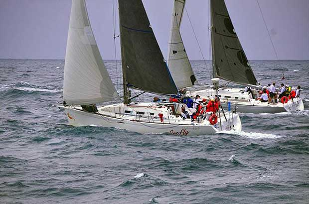 Pittwater to Southport YR start Firefly & Reverie - 2017 Club Marine Pittwater to Southport Yacht Race © Bob Fowler