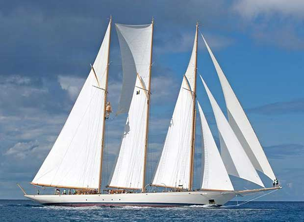 The beautiful 65m schooner – Adix – wins the Classic class. - 2017 Mount Gay Round Barbados Race © Peter Marshall / MGRBR