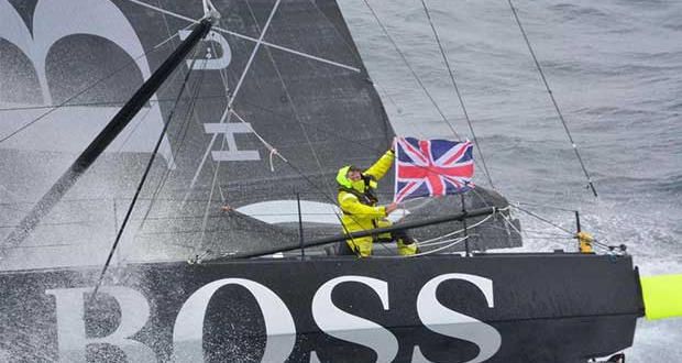 Hugo Boss, skipper Alex Thomson (GBR), off the Kerguelen Islands, flied over by the National French Marine Nivose Frigate, during the Vendee Globe, solo sailing race around the world, on November 30th, 2016 Marine Nationale / Nefertiti / Vendee Globe vendeeglobe.org