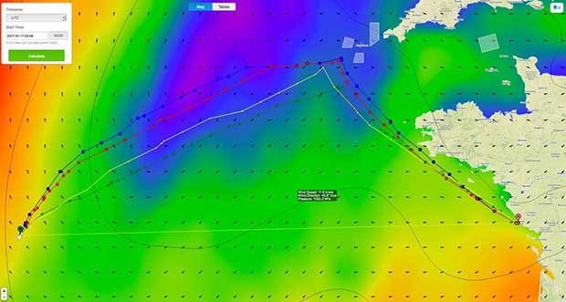 Recommended routing for the lead boats in the Vendee Globe race with 60hours left to sail. © PredictWind