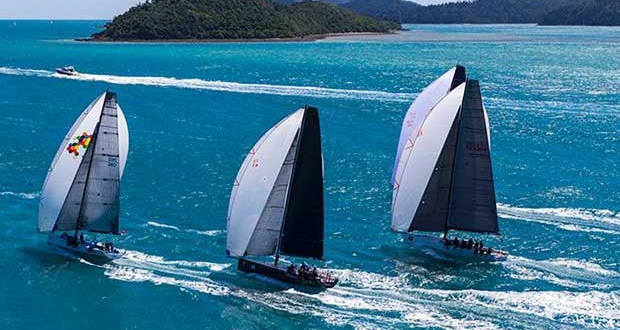 Sailing in Paradise: Four of the 252 yachts that were part of Audi Hamilton Island Race Week 2016 enjoy close racing on the Whitsunday Passage Andrea Francolini http://www.afrancolini.com/
