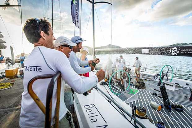 The Bella Mente Racing Team celebrates dockside in Antigua after their 2017 RORC Caribbean 600 win © RORC / ELWJ Photography