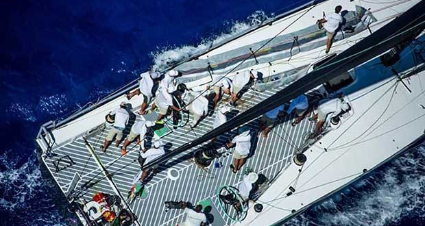 Hap Fauth and his team on Maxi 72 Bella Mente racing in the 2017 RORC Caribbean 600 © RORC / ELWJ Photography