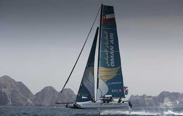 Extreme Sailing Series 2016. Act 1. Muscat Oman. Picture shows the Oman Air team skippered by Morgan Larson (USA) with team mates Pete Greenhalgh (GBR) Ed Smyth (NZL) , Nasser Al Mashari (OMA) and James Wierzbowski © Lloyd Images