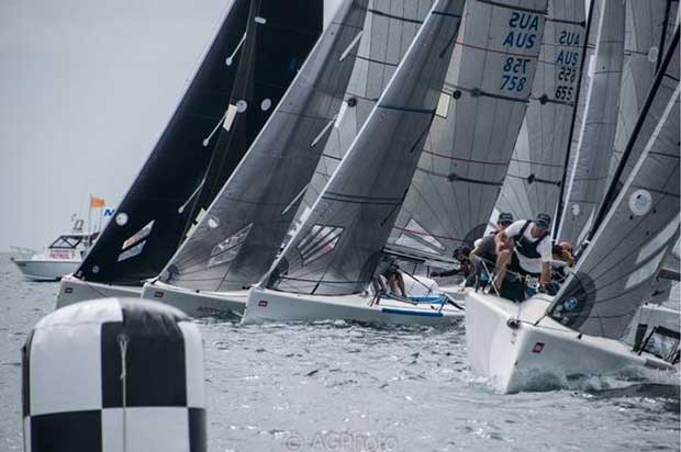 The start line was busy during the first two races of the Melges 24 Nationals - Helly Hansen Melges 24 Nationals © Ally Graham