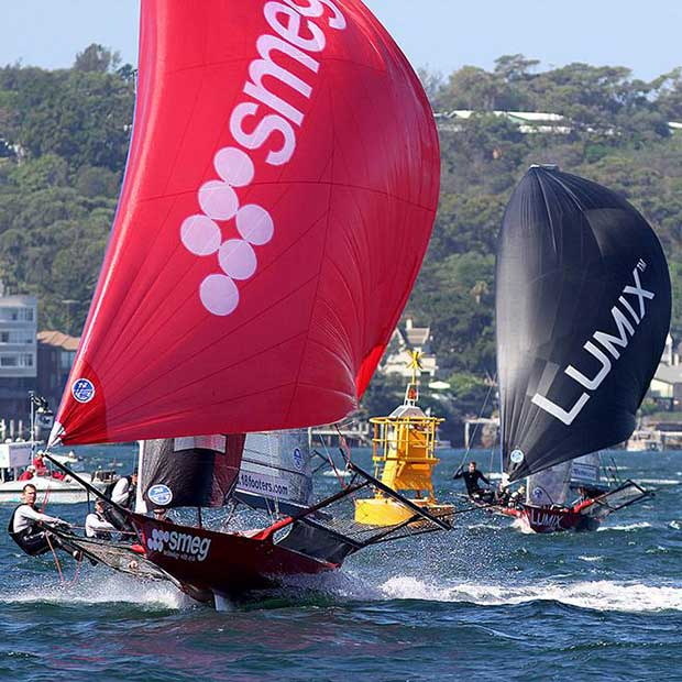 Smeg and Lumix chasing the leader on the run home - 18ft Skiffs: Queen of the Harbour & Alice Burton Memorial Trophy 2017 © 18footers.com