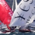 The two leaders cross on the final spinnaker run - 18ft Skiffs: Queen of the Harbour & Alice Burton Memorial Trophy 2017 © 18footers.com