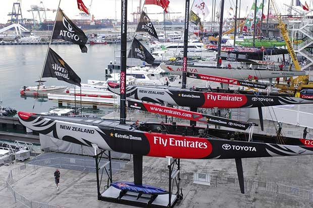 Emirates Team New Zealand yachts NZL92 (closest) and NZL84 bare all, Unveiling day. Valencia. © Emirates Team New Zealand / Photo Chris Cameron ETNZ