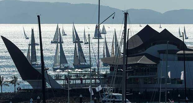 The finish of a race heralds the start of party time onshore at Audi Hamilton Island Race Week © Andrea Francolini http://www.afrancolini.com/