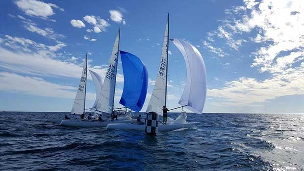 Close Racing and Finishing over the line - 2017 International Etchells WA State Championships Mandy McEvoy