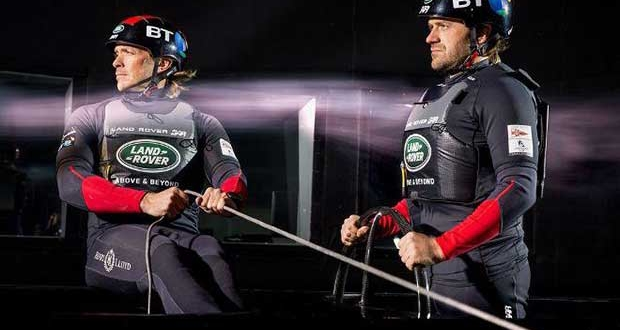 The Land Rover BAR team test the Spinlock buoyancy aid in the wind tunnel. © Harry KH / Land Rover BAR