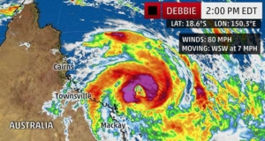 The highest cloud tops, corresponding to the most vigorous convection, are shown in the brightest red colors. Clustering, deep convection around the center is a sign of a healthy tropical cyclone. The Weather Channel