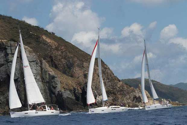 Spectacular scenic courses for the bareboat fleet on day 2 of the BVI Spring Regatta BVISR / www.ingridabery.com