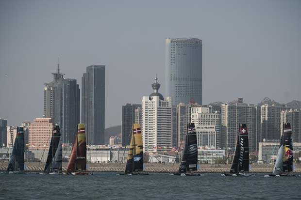 Extreme Sailing Series fleet races during day one of Act 2 in Qingdao, China © Xaume Olleros / OC Sport
