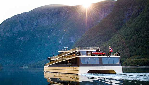 hybrid ferry on norwegian fjords