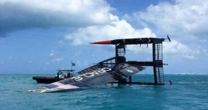 America's Cup - Oracle Team USA capsize AC50