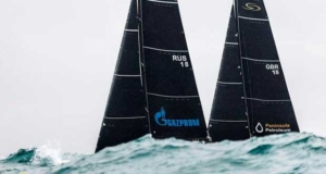 Bronenosec Sailing Team and Peninsula Petroleum behind the rolling swell - RC44 Sotogrande Cup © Martinez Studio