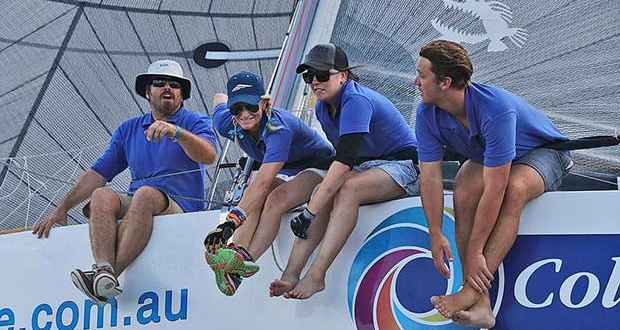Mostly smiles on board Colourtile, and some hard work too! - Sail Port Stephens © John Curnow