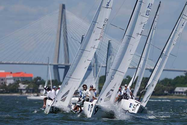 Oivind Lorentzen's J/70 Nine leads his fleet as they beat to windward just south of the Ravenel Bridge. Nine sits in third place after the first day of racing at Sperry Charleston Race Week 2017. © Tim Wilkes / Charleston Race Week
