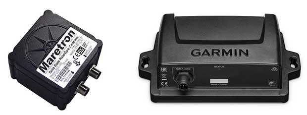 Despite each company's proprietary technology, the nine-axis sensors built by Garmin (right) and Maretron (left) all provide extensive data regarding a vessel's heading and movement through the water.