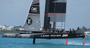 Land Rover BAR - heads for the finish - Round Robin 2, Day 4 - 35th America's Cup - Bermuda May 30, 2017 Richard Gladwell www.photosport.co.nz