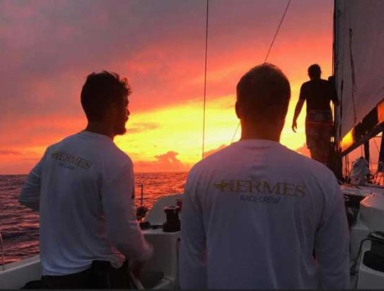 "Life at sea - Meg Reilly reports from on board Canadian Ocean Racing's Pogo 12.50, Hermes: ""Our previous hellish night of lightning was complemented by one of the most gorgeous sunsets we've ever seen."" - Antigua Bermuda Race © Meg Reilly / Hermes"
