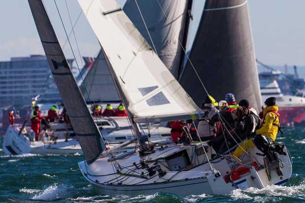 AWKR 2016 - Upwind leg with the Spirit of Tasmania in the background © Bruno Cocozza