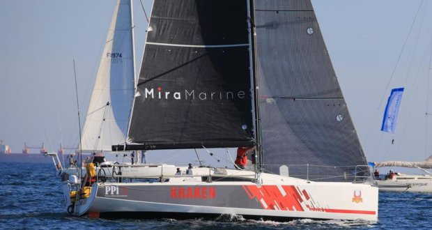 Kraken, a double handed Jeanneau 36 sailed by Todd Giraudo and Dubbo White, were dicing with Mike Giles' Sydney 47 this morning. - Fremantle to Bali Ocean Classic Bernie Kaaks