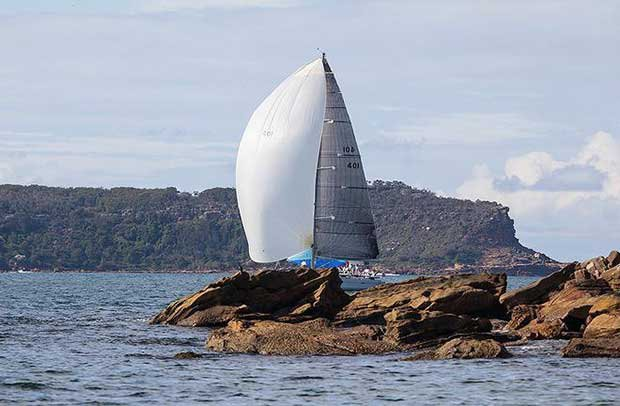 Spinnakers around Lion Island for the leaders… - 2017 Beneteau Pittwater Cup © John Curnow