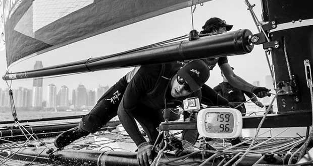 Extreme Sailing Series™ rookies NZ Extreme Sailing Team slipped from third to sixth on the final day after repeatedly falling foul of the on-the-water umpires. © Xaume Olleros / OC Sport