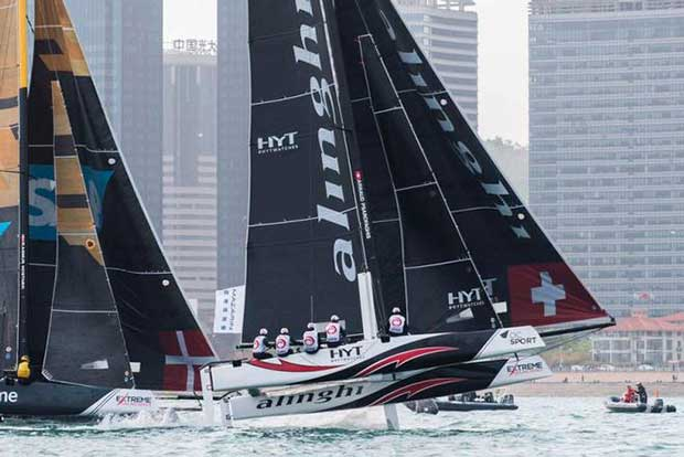 """Act 2, Day 4 – The 2016 Extreme Sailing Series champions saw off their six international rivals with pinpoint accuracy to win Act 2, Qingdao """"Mazarin"""" Cup in Qingdao, China. © Xaume Olleros / OC Sport"""