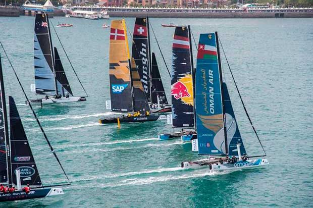 The fleet now has an eight-week break before the battle for Extreme Sailing Series glory resumes in Portugal's island archipelago of Madeira from June 29 to July 2 © Xaume Olleros / OC Sport