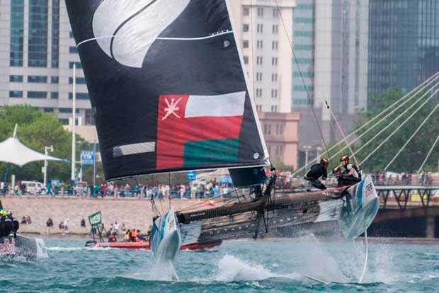 Act 2, Day 4 – Although Oman Air finished on equal points with SAP Extreme Sailing Team, they snatched third from their Danish rivals by breaking the tie with a win in the final race of the Act – Extreme Sailing Series © Xaume Olleros / OC Sport