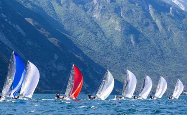 Melges 24 fleet sailing on the final day of the Melges 24 European Sailing Series Regatta in Riva del Garda © IM24CA/ZGN/Mauro Melandri