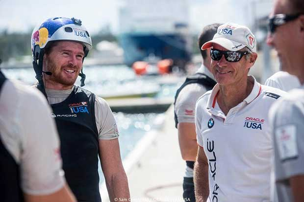 Tactician Tom Slingsby (left) and Grant Simmer - Oracle Team USA - Bermuda, September 2016 Sam Greenfield/Oracle Team USA http://www.oracleteamusa.com