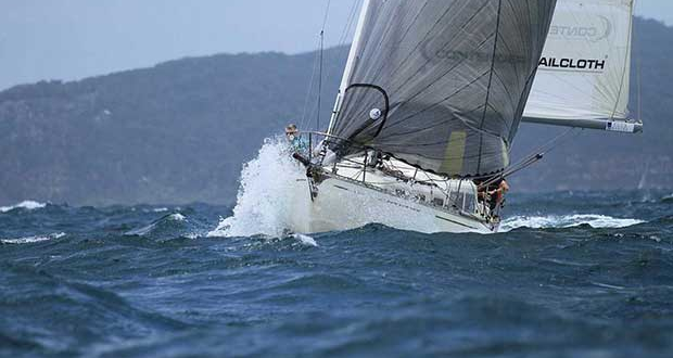 Panchax heading through the chop at the start of the 2017 Club Marine Pittwater To Southport Yacht Race. © Bronwen Hemmings