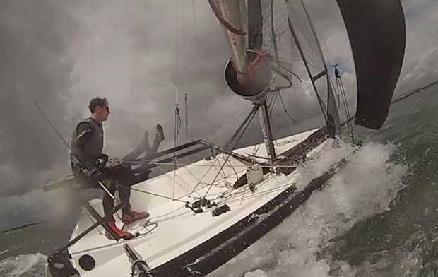 Crew falling overboard on windy Saturday © Luke McEwen