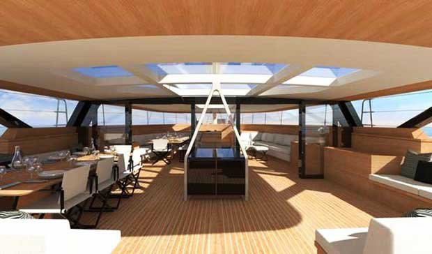 Wally 145 – The interior styling carries the signature of Droulers Architects © Skipper OnDeck Yachting