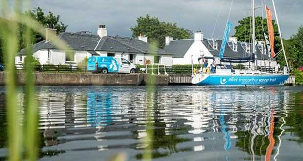 The Ellen MacArthur Cancer Trust Round Britain 2017 voyage yacht moored up in the Caledonian Canal alongside the project's shorebased vehicle courtesy of partners Arnold Clark. © Ellen MacArthur Cancer Trust