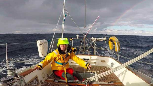 Susie Goodall pictured during her solo transatlantic training voyage to Antigua and back Golden Globe Race