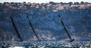 Maxi 72s Cannonball, Momo and Bella Mente competing in the 2017 Palma Vela in Mallorca, Spain © Pedro Martinez / Sailing Energy http://www.sailingenergy.com/