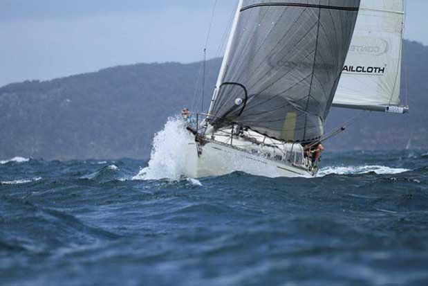Panchax heading through the chop at the start of the 2017 Club Marine Pittwater To Southport Yacht Race © Brendan Rourke