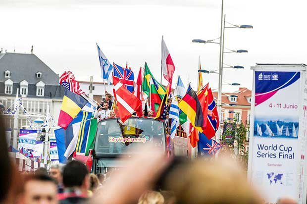 Open top bus ride for sailors from 41 nations - 2017 World Cup Series Final © Jesus Renedo http://www.sailingstock.com
