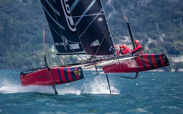 Federico Ferioli and his Código Rojo Racing Team crew learning the ropes at the GC32 Riva Cup. © Jesus Renedo / GC32 Racing Tour