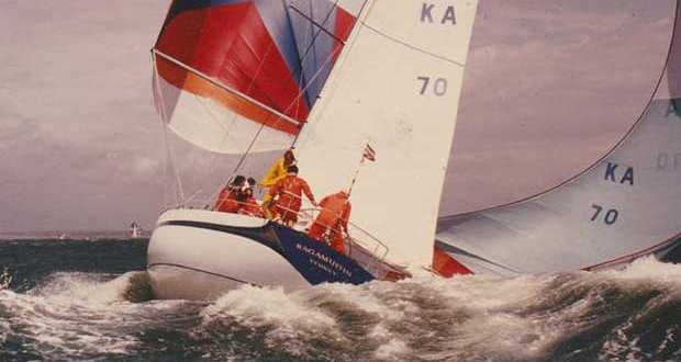 Ragamuffin with all guns blazing on the Solent during the Admiral's Cup David Salter