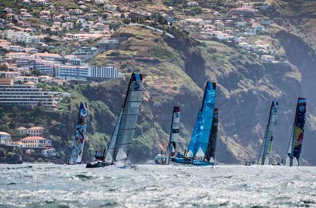 Extreme Sailing Series Madeira Islands – Act 3, Day 3 – The fleet of Flying Phantoms sailed six races in Funchal during the opening event of the 2017 Flying Phantom Series. © Lloyd Images http://lloydimagesgallery.photoshelter.com/