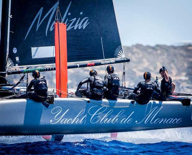 Pierre Casiraghi punches the air in triumph after winning Race 9 – GC32 Villasimius Cup © Jesus Renedo / GC32 Racing Tour