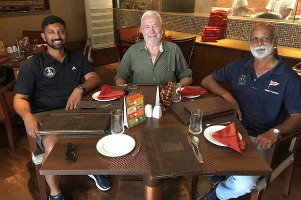 Sir Robin Knox-Johnston met with Abhilash Tomy, (left) and Dilip Donde (right) two of India's best-known sailors, during a recent visit to India to learn about the Suhaili replica being built for the 2018 Golden Globe Race © Sir Robin Knox-Johnston / PPL Photo Agency